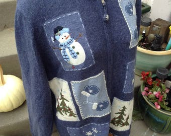 Vintage kitsch Snowman winter cardigan sweater size 1x perfect for Ugly Christmas Sweater free domestic shipping