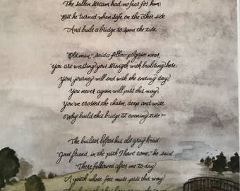 The Bridge Builder/Calligraphy Art/Print of Original/8.5x11/Paper only/Card Stock