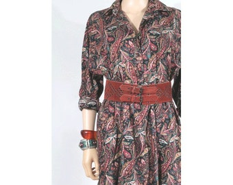 1980 Paisley long sleeves Dress