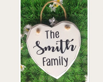 Personalised Family Hanging Heart Sign