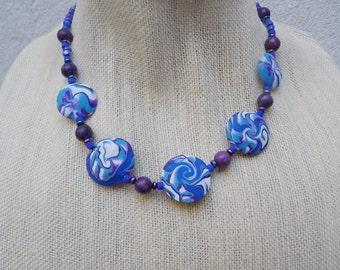 Purple, Blue & White Swirl Bead Necklace - Handmade Polymer Clay Beads