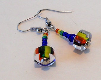 Rainbow Cane Glass Handmade Bead Earrings