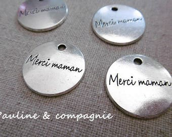 4 pendants charms silver metal round writing thank you MOM