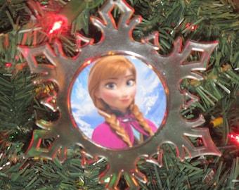 Disney Frozen Anna Acrylic Frozen SnowFlake Ornament *Free Personalization*