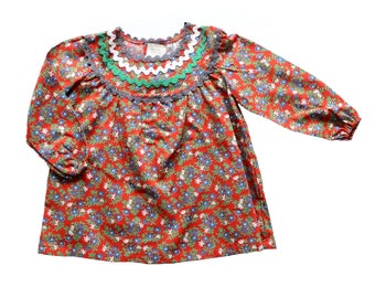 FRENCH VINTAGE 70's / kids / floral cotton dress / new old stock / size 2 years