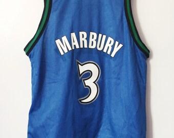 vintage stephon marbury minnesota timberwolves champion jersey boys size medium 10/12