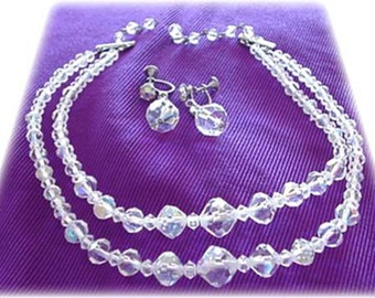 Carnival Glass Crystal 2 Stranded Necklace with Earrings