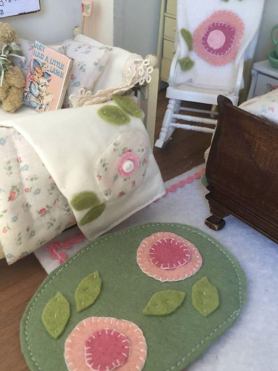 Hand appliqué wool felt dollhouse oval rug
