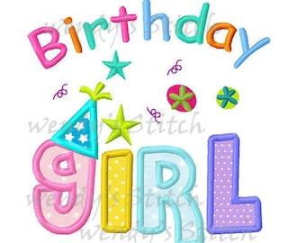 Birthday girl machine embroidery design digital applique