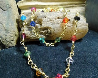 Classic Sparkle Swarovski Crystal Brass Super Long Layer Necklace Rosary Chain