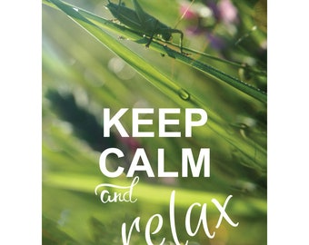 KEEP CALM and relax. Grasshopper Summer Meadow green Postcard for Postcrossing