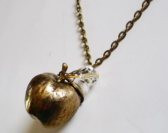Apple Necklace, Brass, Crystal Pendant, Fall Gift