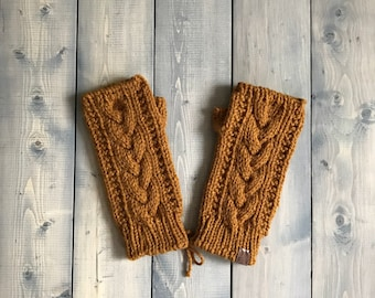 Adult 'Trinity' Knit Fingerless Gloves - Mustard