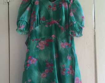 Vintage green and pink flower dress