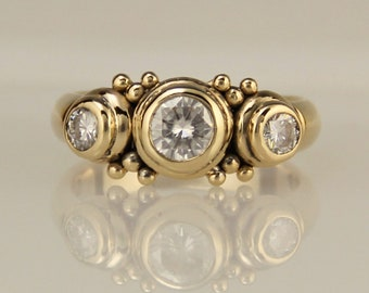 Gold Moissanite Engagement Ring/ Moissanite Anniversary Ring/ 3 stone Ring/ One of a Kind Ring/ Diamond Alternative/ 14k Anniversary Ring