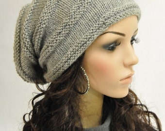 Hand knit slouchy wool hat woman men unisex hat Light Grey Wool Hat-ready to ship