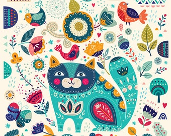 Amazing pattern with BLUE CAT  and floral elements. Fine art PRINT. Beautiful print for living room, bedroom.