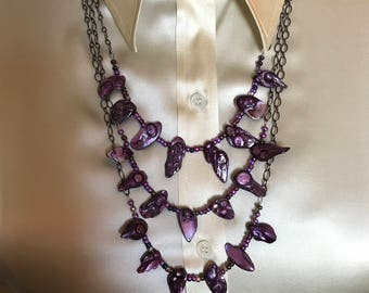 Purple Shell Multi Strand Statement Necklace