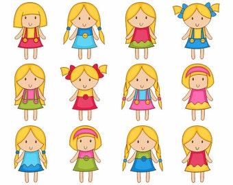 Cute Girls Clip Art, Kids Digital Clip Art, Blond Girls Digital Clipart Pack, Instant Download - YDC046