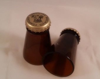 Lagunitas IPA shot glasses made from the necks of beer bottles! Hand cut and polished Set of 2!
