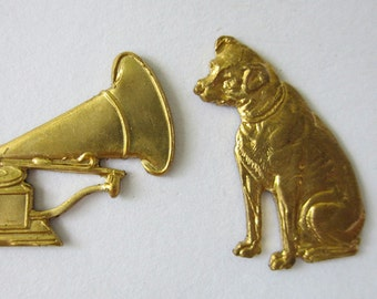 Rare Vintage RCA Dog (NIpper) + Victrola Brass Stampings, One Pair