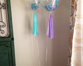 Pre-Filled Clear Confetti Balloon-Tissue Paper - ANY COLOR you choose