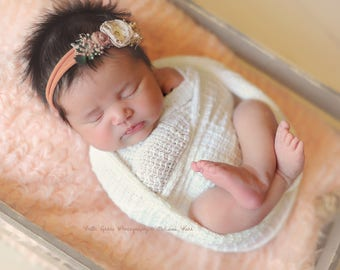 Peach Blossom Mongolian Faux Fur Nest Photography Prop Rug Newborn Baby Toddler