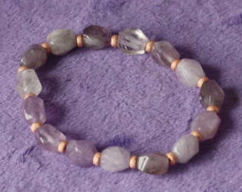 Genuine Natural Lavender Amethyst swirl drum stretchy bracelet