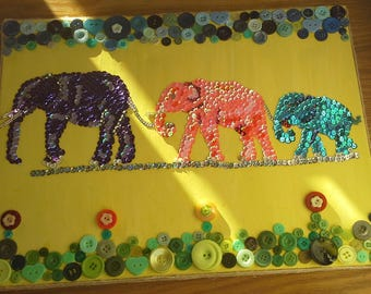Family of three Elephants Art