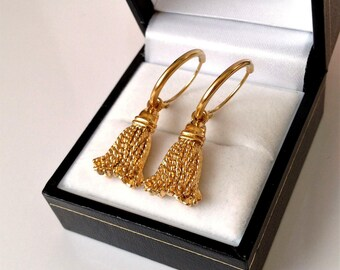 9ct Gold Plated Sleeper Hoop & Tassel Earrings 30mm x 10mm.