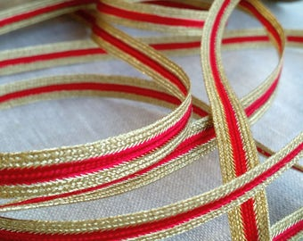 LOT OF 4 YARDS Vintage Trim in Metallic Gold and Red, Vintage Ribbon, Gold Ribbon, Gold Trim, Vintage Trim, Vintage, Ribbon, Costume, Decor