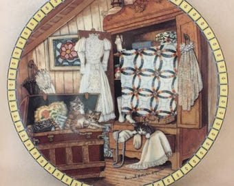 Knowles Cozy Country Corners Collector Kitty Plate - 'Attic Afternoon' (#178)