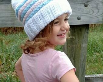 "DIY- Knitting PATTERN #38: Knit slouchy with Pom-pom pattern, Knit beanie pattern, Toddler/Child  18""– 20"" HC - Digital Pattern"