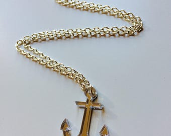 Anchor | Rockabilly | Mermaid | Nautical | Mirrored | Laser Cut | Acrylic | Necklace