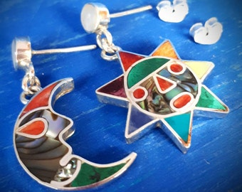 Sun moon silver earrings colorful stones inlaid proposal gift spiritual peruvian jewelry love peace couple inca marriage gift valentine day