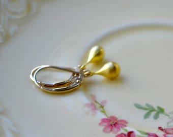 Tiny Gold Drop Earring, Teardrop Earring, Gold Filled Leverbacks, Brushed Gold Earring, Delicate Jewelry, Small Gold Earrings Gift for Women