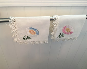 Two Vintage Embroidered  Linen Table Napkins