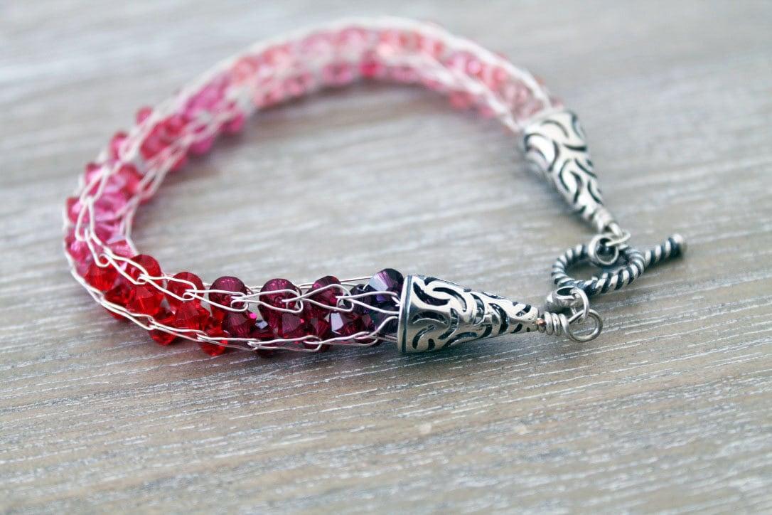 Sterling silver bracelet silver woven wire bracelet ombre