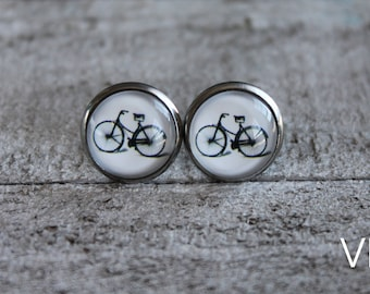 Bicycle earrings studs in  with glass cabochon sport earrings