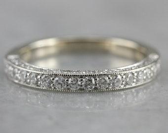 Diamond Wedding Band, White Gold and Diamond, Anniversary Band, Stacking Band 4TNJWRWE-C