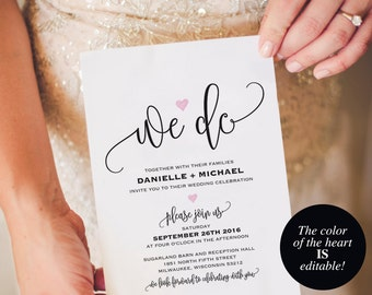 Wedding invitation template etsy we do wedding invitation template heart wedding invitation wedding invitation printable wedding template stopboris Image collections