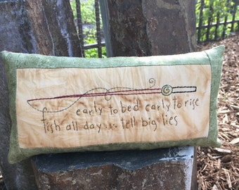 Fishing Display - Father's Day Gift - Whimsical Pillow - Primitive Spring - Rustic Decor - Cabin Decoration - Fishing Fabric - Embroidery