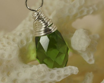 Green Crystal Briolette Wired Sterling Silver Wire Wrapped Briolette