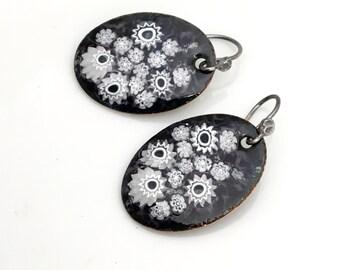 Enamel Jewelry, Black & White Flower Earrings, Handmade Artisan Design, Floral Dangle Earrings, Vitreous Copper Enamel, deluxe gift for her
