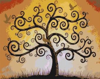 Tree of life Cross Stitch Pattern life pattern needelpoint kreuzstichvorlagen - 276 x 229 stitches - INSTANT Download - B400