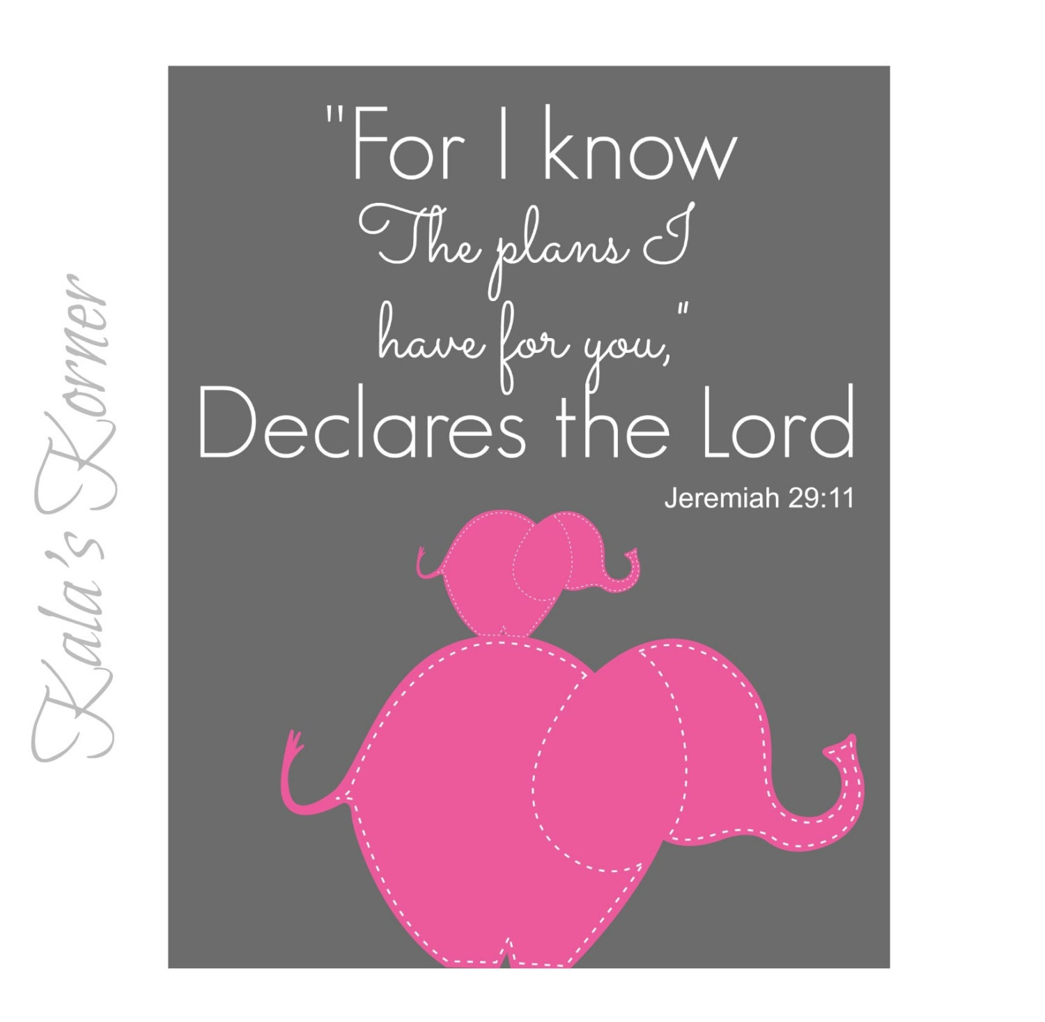ELEPHANT NURSERY ART Bible verse Jeremiah 29:11 elephant