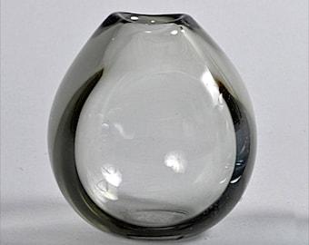 1955 Per Luken Holmegaard Drop Vase Smoke Grey Table Bud Art Glass Form Vintage Mid-Century Scandinavian Design