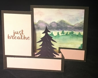 Greeting Card/Display Piece--Mountains at Sunrise