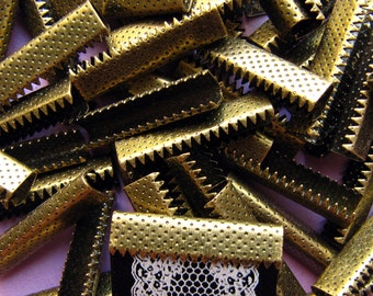 144 pieces 25mm or 1 inch Antique Bronze Ribbon Clamps without Loop for Bookmarks