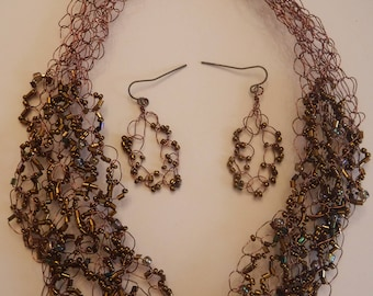Beaded Antique Copper Wire Crochet Necklace and Earrings